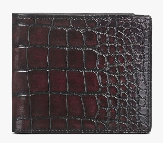 Makore Alligator Leather Compact Wallet, BORDO, hi-res