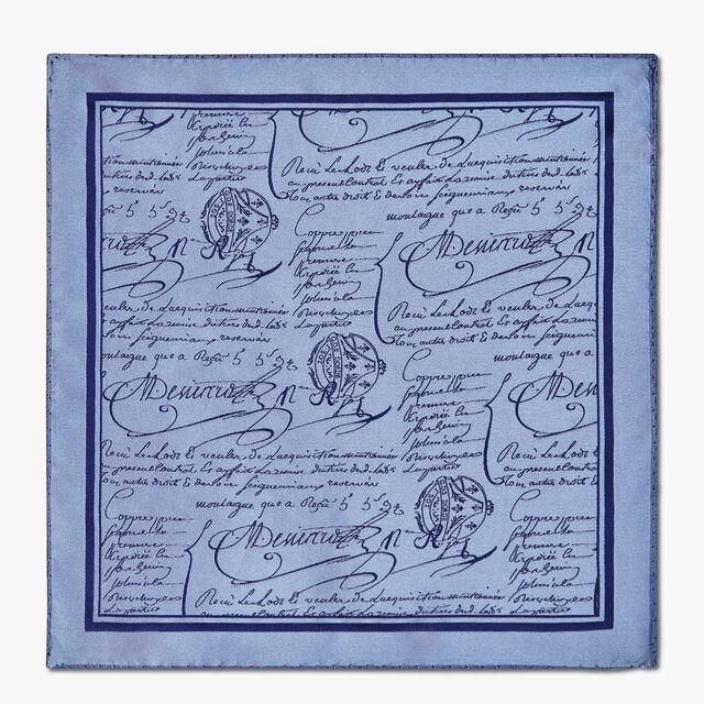 Evening Scritto Silk Pocket Square, ZENITH BLUE, hi-res
