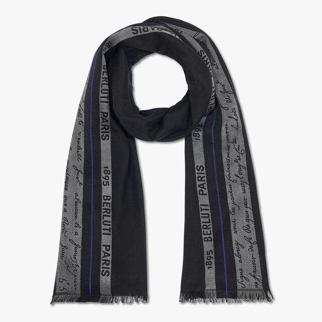 有LOGO与Scritto图案的长方形羊毛围巾, NOIR, hi-res