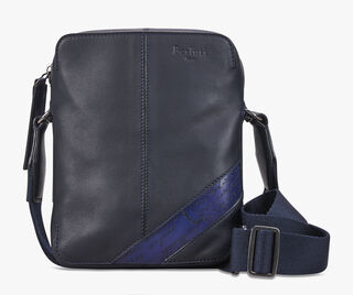 Monolithe Small Leather Shoulder Bag, NAVY BLU, hi-res