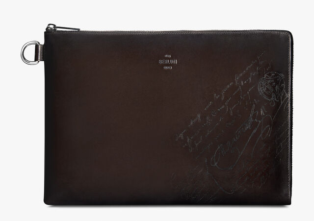 Nino Large Scritto Swipe Leather Clutch, ICE BLACK, hi-res