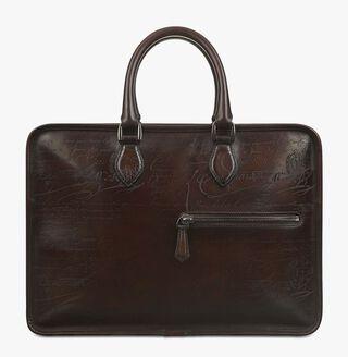 Un Jour Calf Leather Briefcase, CAFFE, hi-res