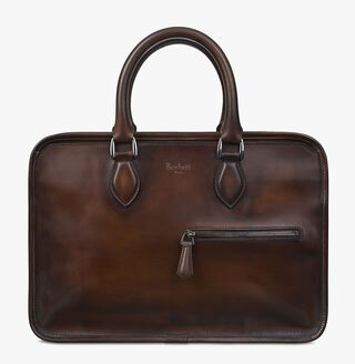 Un Jour Mini Calf Leather Briefcase, TOBACCO BIS, hi-res