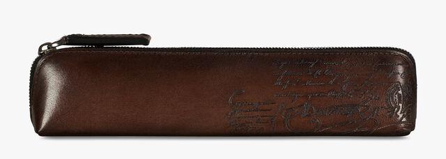 Dessin Scritto Leather Pouch, BRUN, hi-res