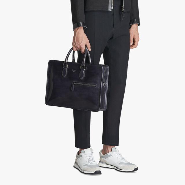 Un Jour Medium Leather Briefcase, DEEP BLACK, hi-res