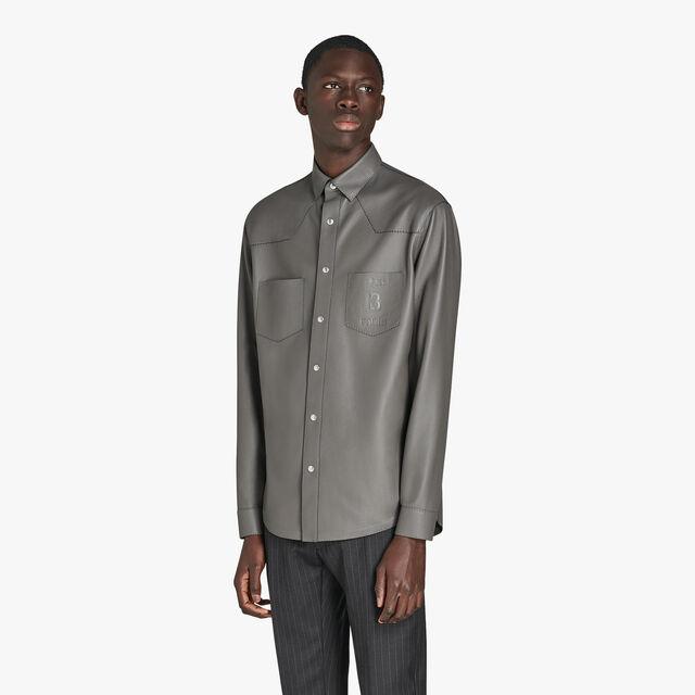Deer Leather Shirt, DARK LEAD, hi-res