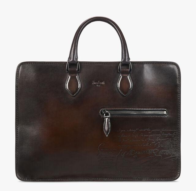 Deux Jours Scritto Calf Leather Briefcase, TDM SCURO, hi-res