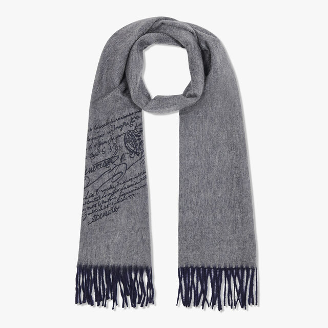 Rectangular Double Face Scritto Embroidered Cashmere Scarf, LEAD, hi-res