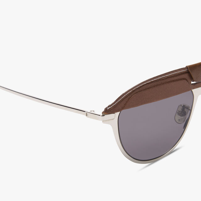 Phoenix Metal And Leather Sunglasses, BROWN + SMOKE, hi-res