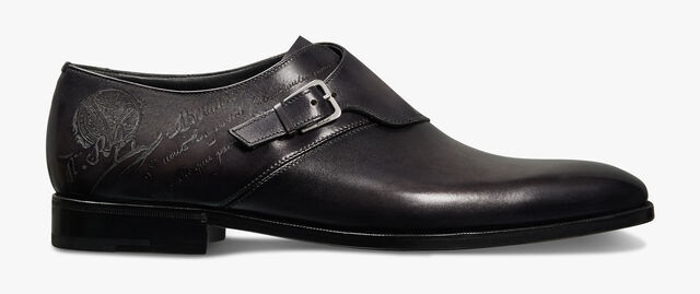 Scars Démesure Scritto Leather Monk Shoe, DEEP BLACK, hi-res