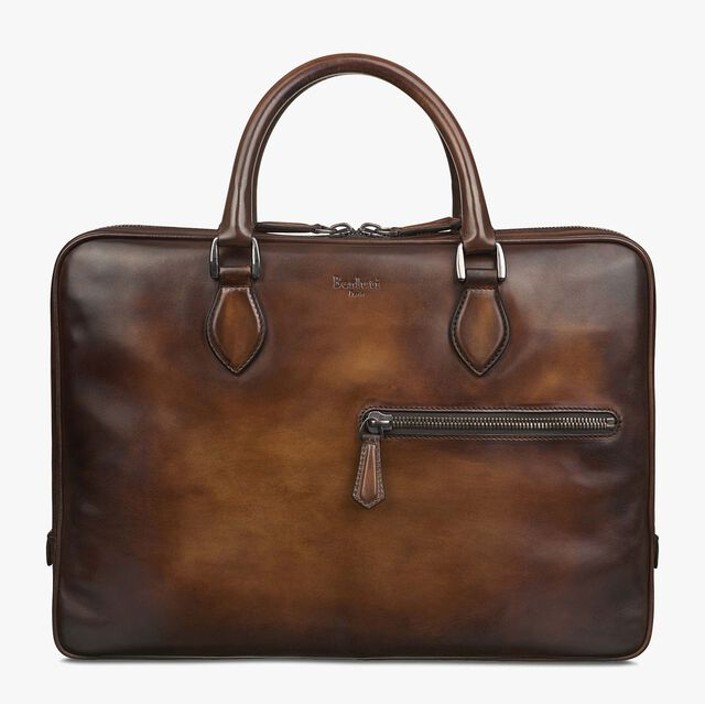 F007 Small Leather Briefcase, TOBACCO BIS, hi-res