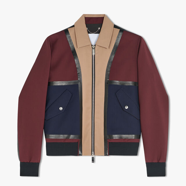 Color Block Wool Blouson With Leather Details