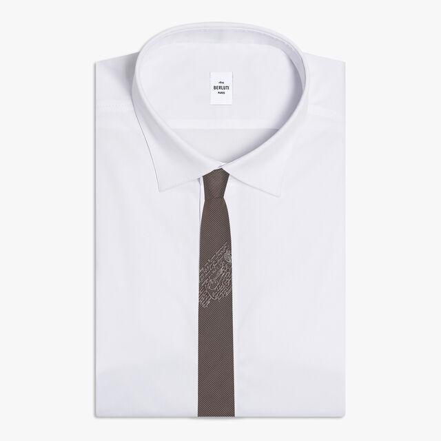 Small Striped Tie With Scritto, DARK CHOCOLATE, hi-res
