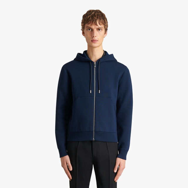 Double Face Hoodie With Signature Jacquard, BLUE WINTER NIGHT, hi-res