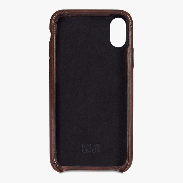 Engraved iPhone XS Max Venezia Calf Leather Case, MOGANO, hi-res