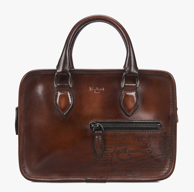 Un Jour Gulliver Scritto Leather Messenger Bag, MOGANO, hi-res