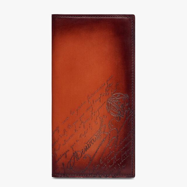 Santal Scritto Swipe Leather Long Wallet, TERRACOTTA, hi-res