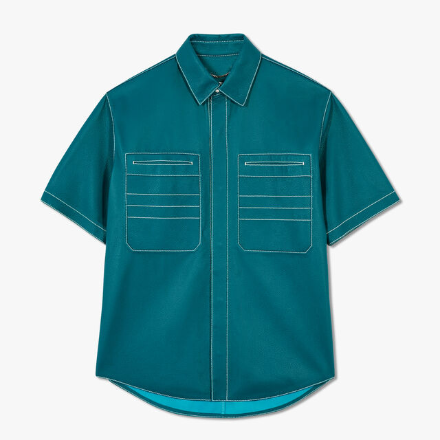 Grained Leather Shirt With Constrasted Stitches, ALPINE GREEN, hi-res