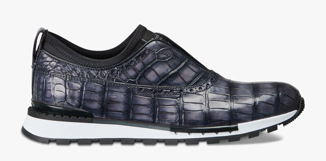 Fast Track Torino Alligator Leather & Neoprene Sneaker, ALUMINIO, hi-res