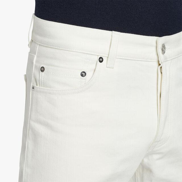 Slim-Fit Cotton Denim Pants, GARDENIA, hi-res