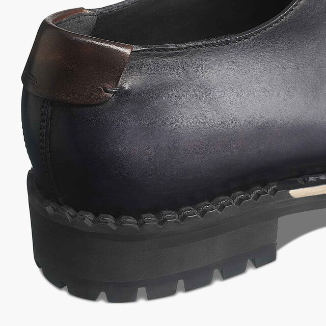 Contrast Oslo Calf Leather Derby, NERO GRIGIO, hi-res