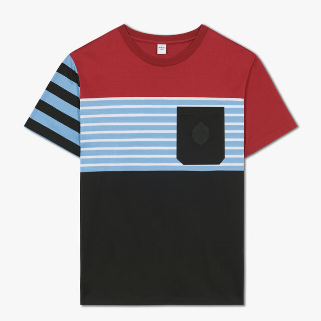 Colorblock T-Shirt With Crest, RED SUN, hi-res