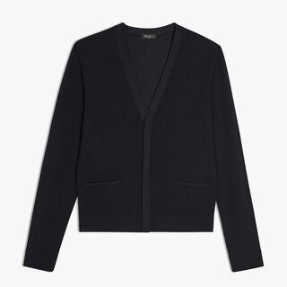 Wool And Silk Cardigan, NOIR, hi-res