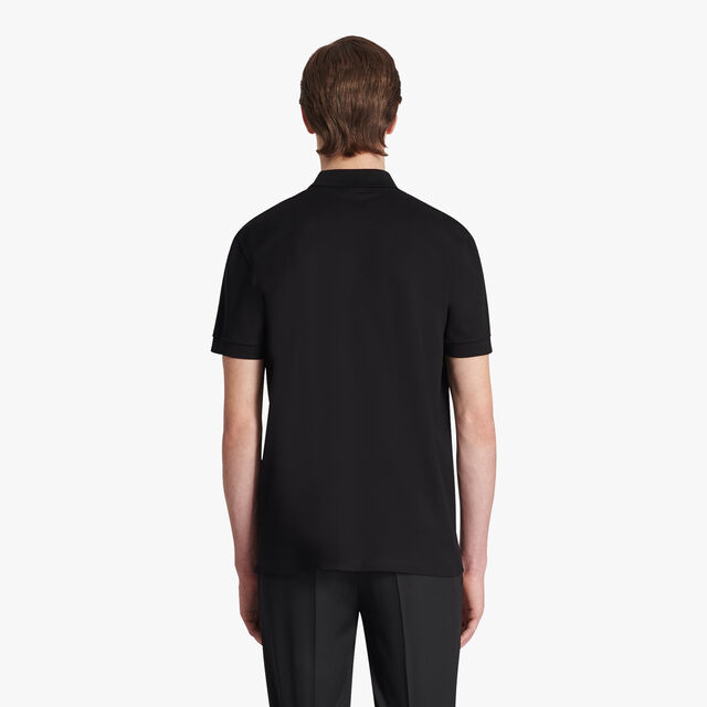 Cotton Polo-Shirt  With Crest Leather Patch, NOIR, hi-res