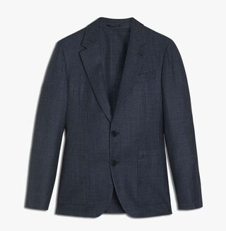 Unlined Supple Mix Wool Jacket, NAVY, hi-res