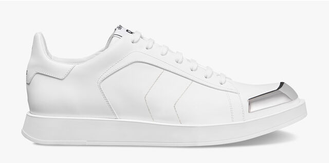 Stellar Calf Leather Sneaker With Metallic Details, WHITE, hi-res