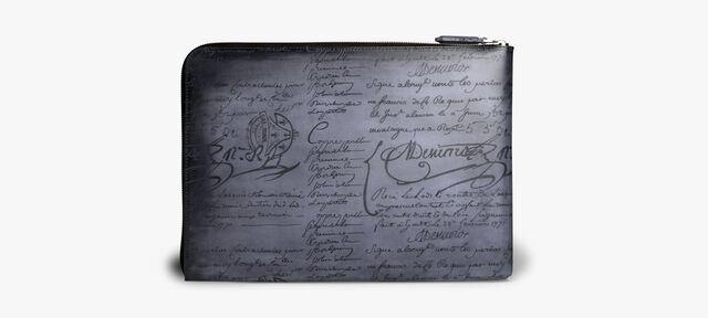 Nino Large Scritto Leather Clutch, TOBACCO BIS, hi-res