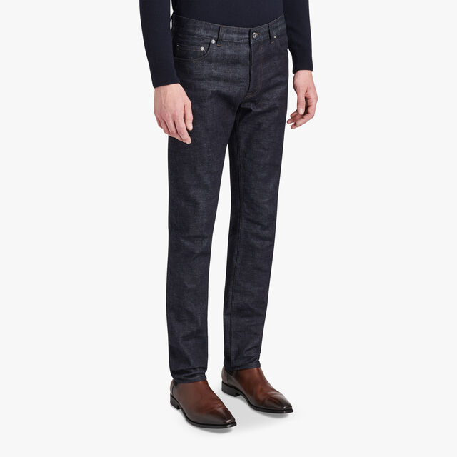 Slim-Fit Cotton Denim Pants With Leather Details, INDIGO, hi-res