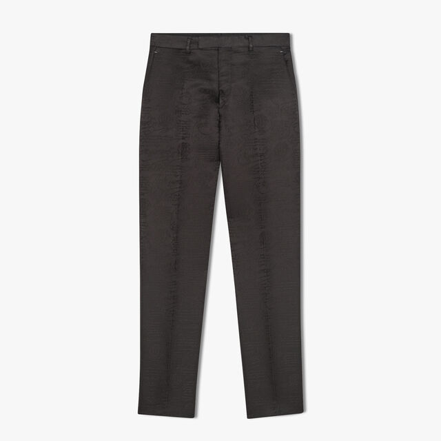 Alessandro Regular Formal Scritto Wool And Silk Pants, NOIR, hi-res