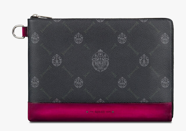 Nino Large Canvas and Leather Clutch , BLACK + ROSE GARDEN PINK, hi-res