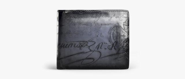 Makore Scritto Leather Wallet, NERO GRIGIO, hi-res
