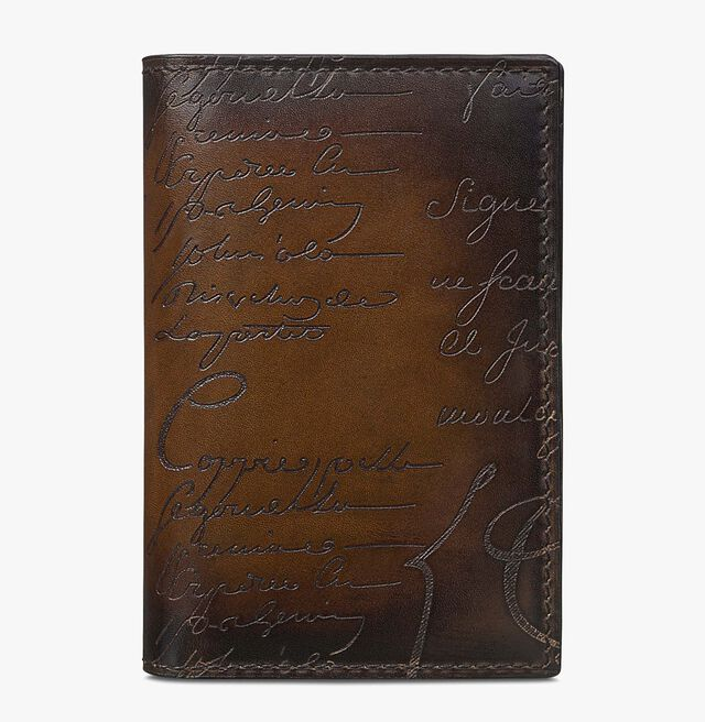 Jagua Small Scritto Leather Card Holder, TOBACCO BIS, hi-res
