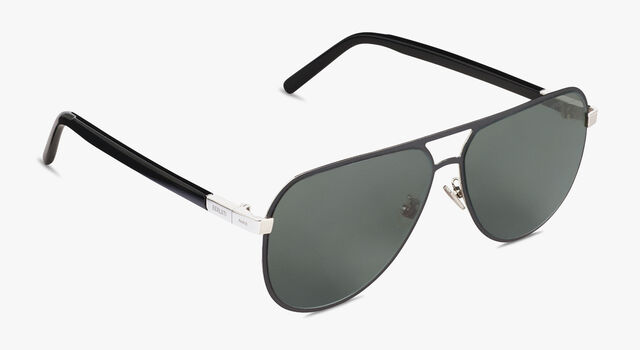 Bright Metal And Acetate Sunglasses, BLACK, hi-res
