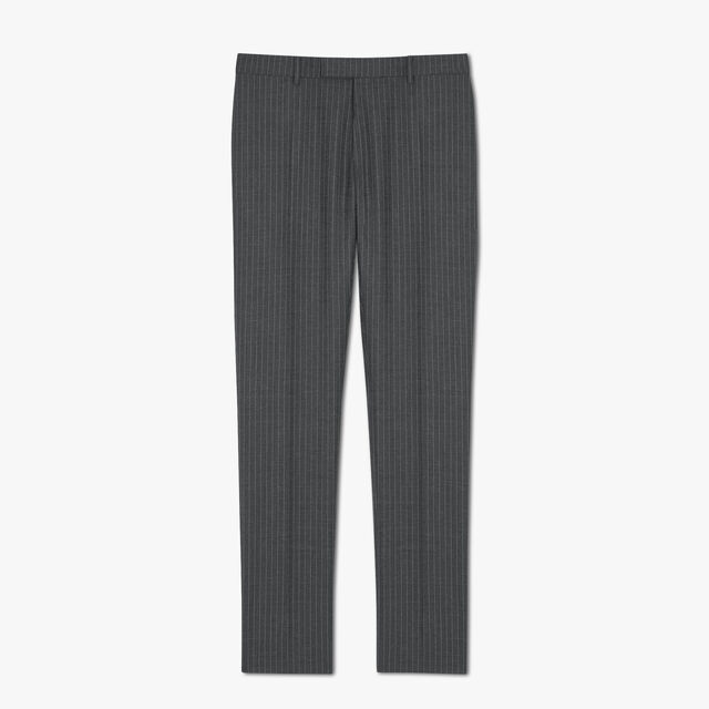 Formal Jacquard Scritto Virgin Wool Pants, DARK GREY MELANGE, hi-res