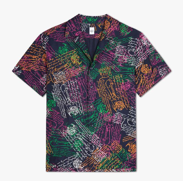 Printed Silk Oversize Shirt, SCRITTO COSMIC BLUE, hi-res