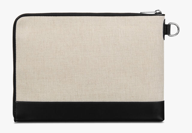 Nino GM Scritto Canvas and Leather Clutch, BEIGE + BLACK, hi-res