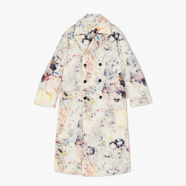 Puffy Printed Marble Coat, MARBLE, hi-res