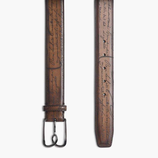 B Volute Scritto Leather Belt - 35mm, TOBACCO BIS, hi-res