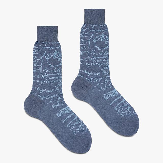 Cotton Socks, SKY BLUE, hi-res