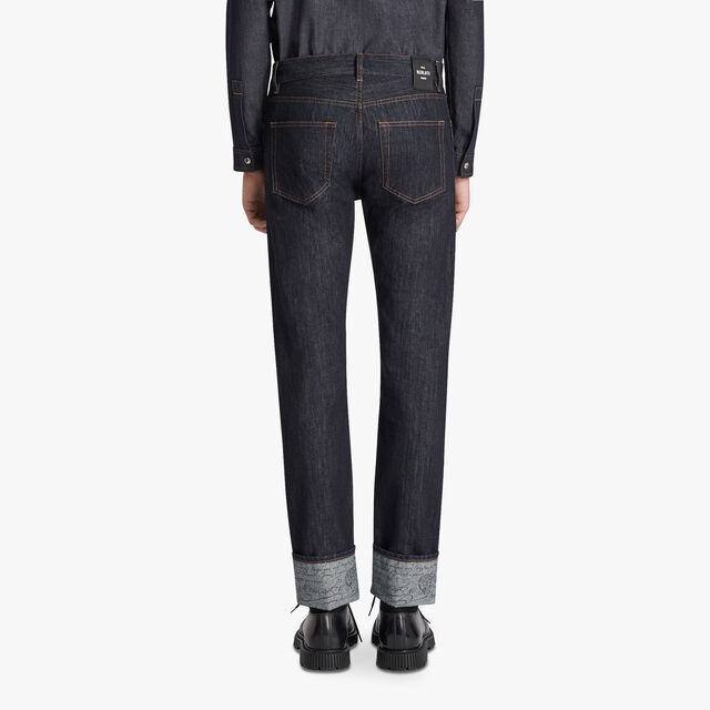 Indigo Denim Trousers With Scritto