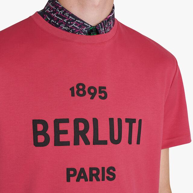 刺繍ロゴ付きコットン半袖Tシャツ, TECNO MAGENTA, hi-res