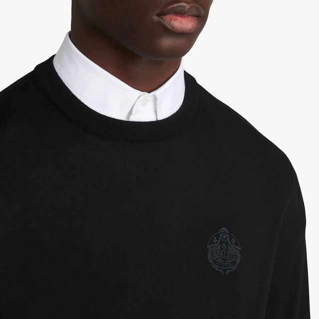 Embroidered Crest Sweater, NOIR, hi-res