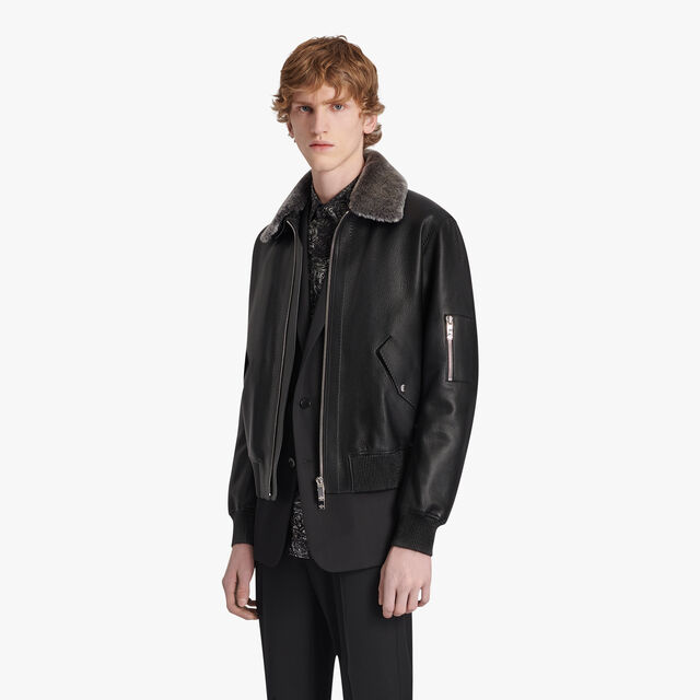 Leather Deer Blouson With Shearling Collar, NOIR, hi-res