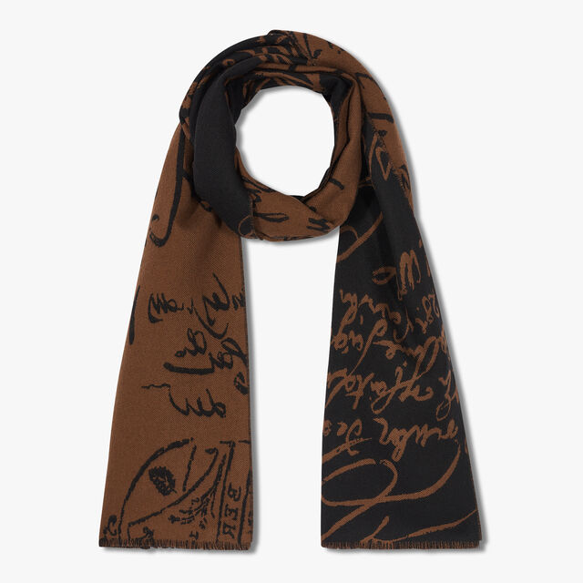 Wool Jacquard Scritto Scarf, TERRA ROSSA, hi-res