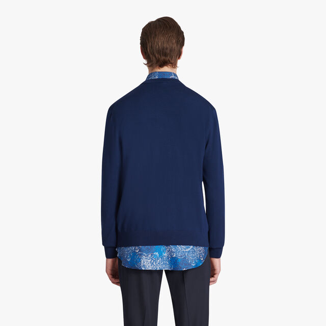 Wool Sweater With Leather Crest, SPACE BLUE, hi-res