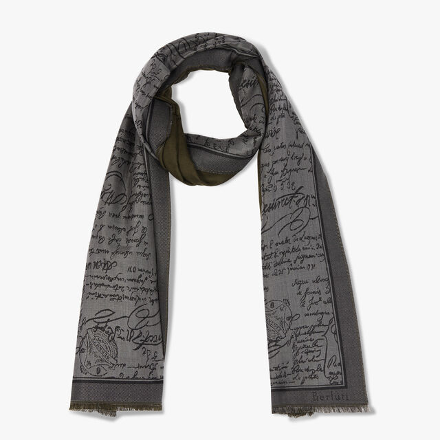 Reversible Scritto Wool And Silk Scarf, EMPIRE GREEN, hi-res